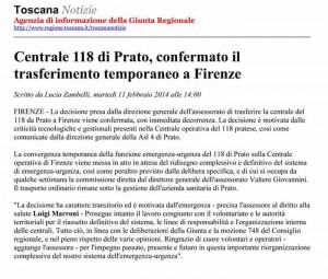 118 trasferito a Firenze