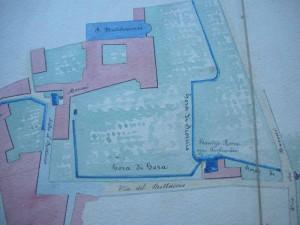 Dettaglio della pianta del Cavaliere Martelli. La Gora di Gora e la Gora di Scornio, attraversato il retro di San Bartolomeo, si riuniscono