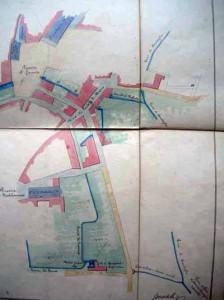 Cavaliere Martelli, raffigurazione dell'andamento della Gora di Candeglia in città allegato alla relazione Guasti del 1835. Si nota il punto in cui le gore si riuniscono