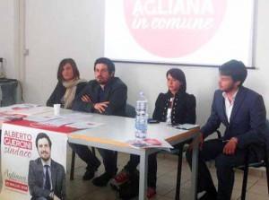 Un momento della conferenza stampa di presentazione della lista «Agliana in Comune»