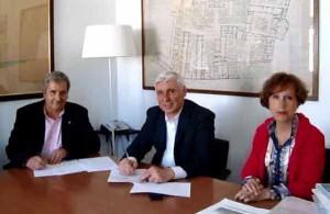Il Presidente della Cri, Grassini; il dottor Abati; la dottoressa  Bellagambi