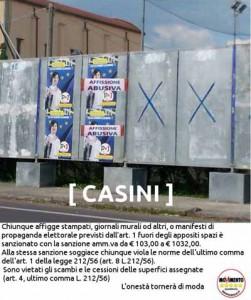 Casini, affissioni abusive