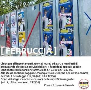 Ferruccia, affissioni abusive