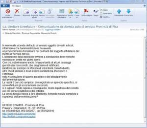 La mail dell'ufficio stampa della Provincia di Pisa