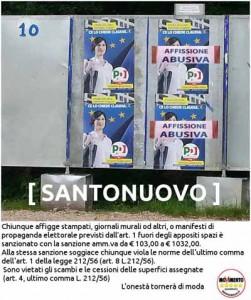 Santonuovo, affissioni abusive