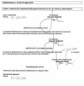 Il certificato di pubblicazione