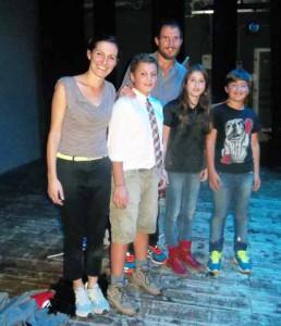 Sara Bonaventura e Claudio Cirri (attori) con Zeno, Olga e Atnonio